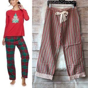 Sonoma • Christmas stripes fleece pajama bottoms